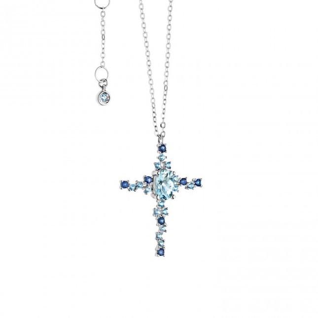 Collana a forma di croce in oro 18 kt  con spinelli blu e color acquamarina