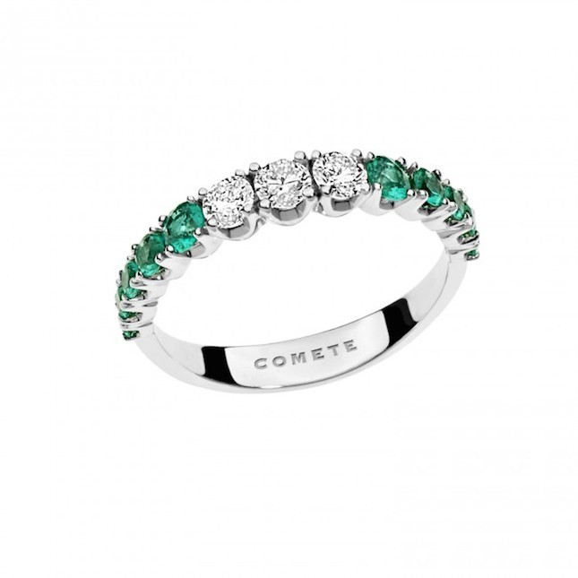 Anello in Oro binaco 750‰,  diamanti e smeraldi