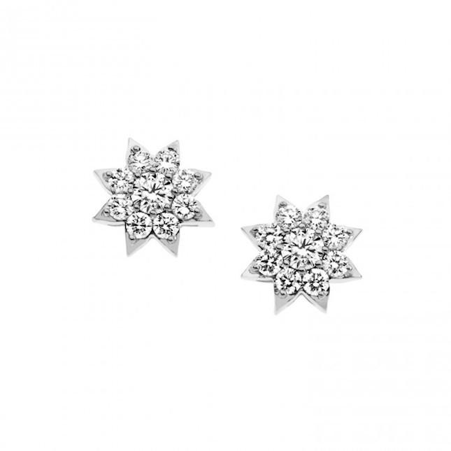 Orecchini a forma di fiore in Oro 750‰  e diamanti
