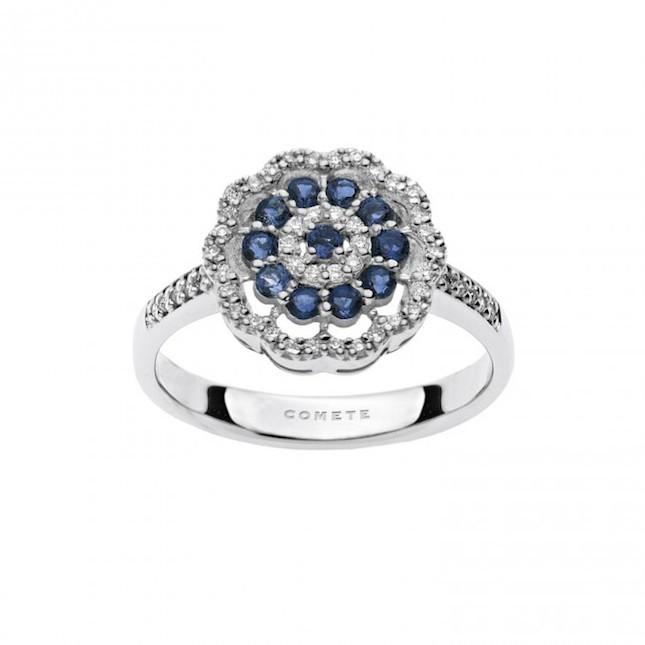 Anello in Oro 750 ‰, diamanti e zaffiri blu