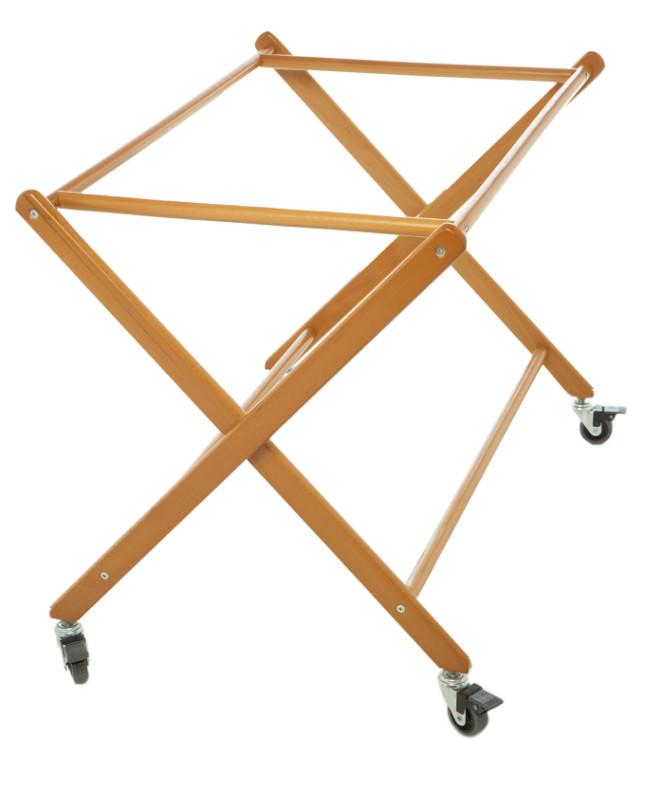 upporto culla Prenatal in legno massiccio color noce con ruote per il facile spostamento. Il corredo per la culla è in vendita separatamente