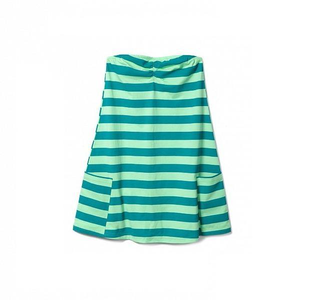 Vestito a righe verdi, da mare, senza spalline