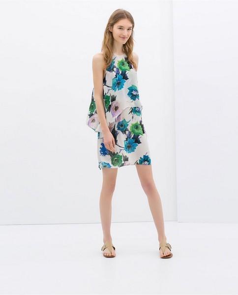 Vestito bianco con fiori blu e verdi di Zara