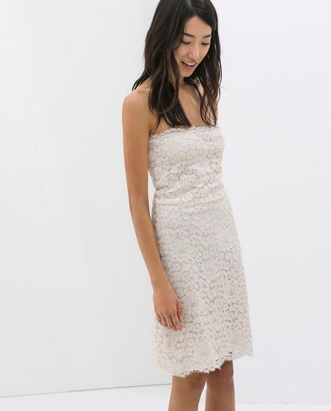Vestito bianco in pizzo Zara