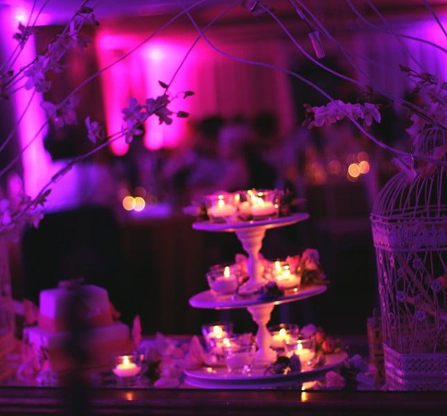Allestimento di Bluemilia Flower Studio: rami  ad arco con fiori, candele e luci rosa.