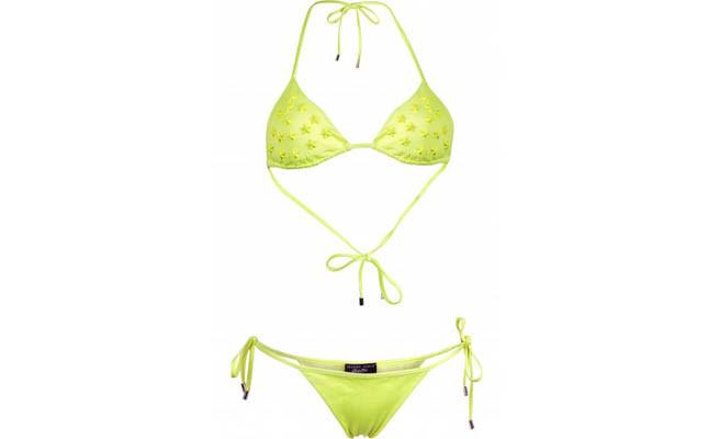 collezione beachwear Philipp Plein 2014 bikini Starlet giallo con borchie a stella e badge philippe plein