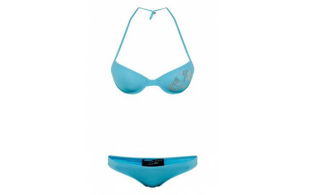 collezione beachwear Philipp Plein 2014 bikini Glitter turchese con teschio