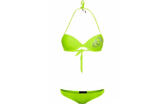 collezione beachwear Philipp Plein 2014 bikini Glitter color verde con teschio