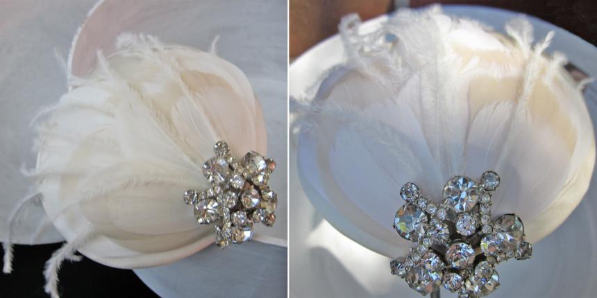 cappello sposa con applicazioni swarosky e piume