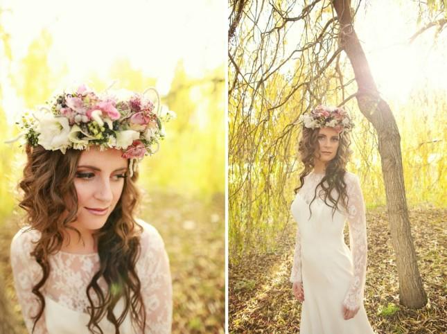 cappello sposa realizzato interamente con fiori colorati foto by bridechic