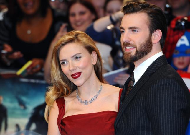 Chris Evans e Scarlett Johansson alla prima di Capitan America, Il soldato d'inverno