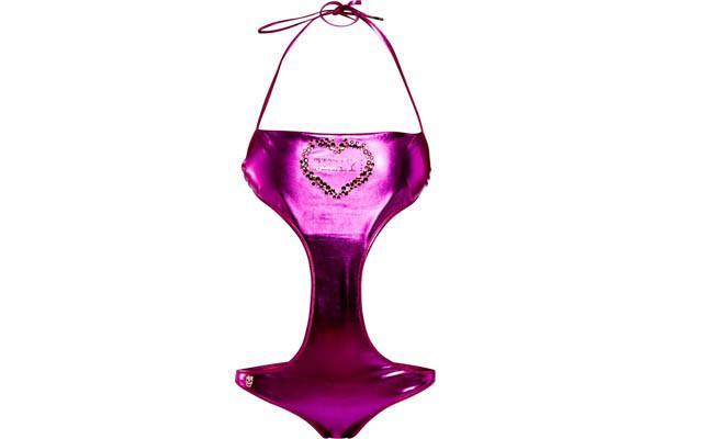collezione beachwear Philipp Plein 2014 costume intero clessidra tessuto metal rosa dettaglio cuore in pietra