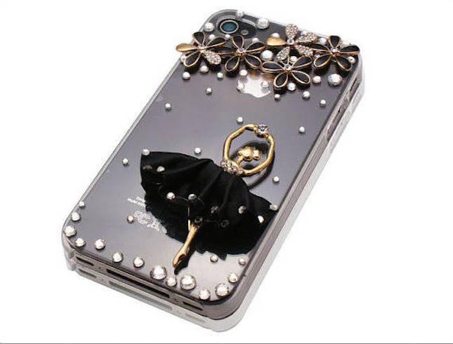 Cover per smartphone con ballerina e glitter
