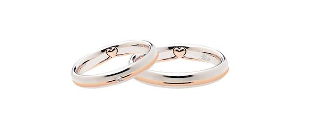 Fede nuziale Polello con diamante  in oro rosa e platino con cuore in rilievo nella parte interna