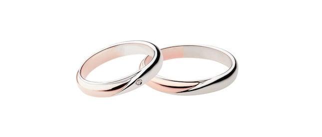 Fede nuziale Polello, platino ed oro rosa con diamante