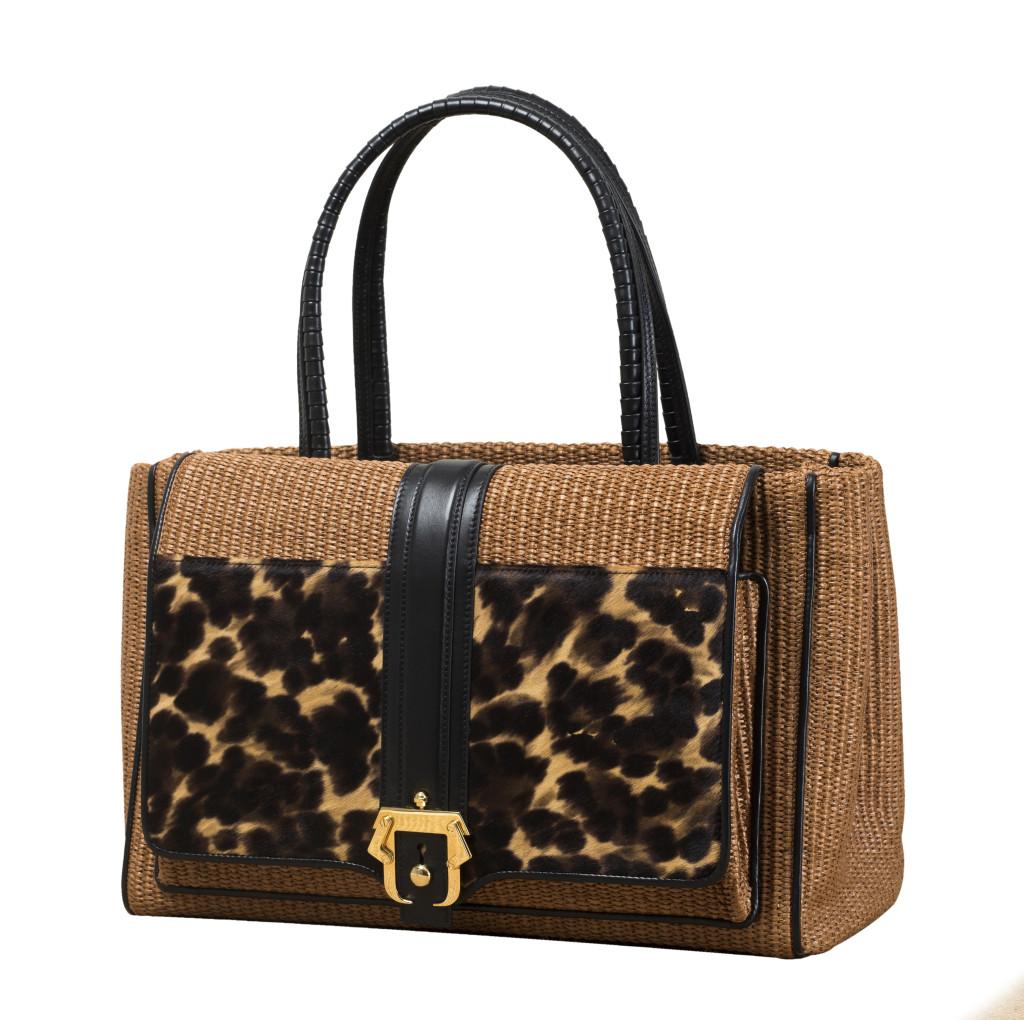 Modello Daisy, Paula Cademartori SS 14. Shopping bag in paglia naturale e cavallino stampato con inserti in vitello posh black e fibbia dorata