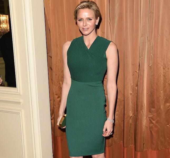 Charlene di Monaco incinta in verde