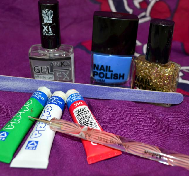 Materiale necessario per la nail art: lima per unghie, smalti, tempere, dotter