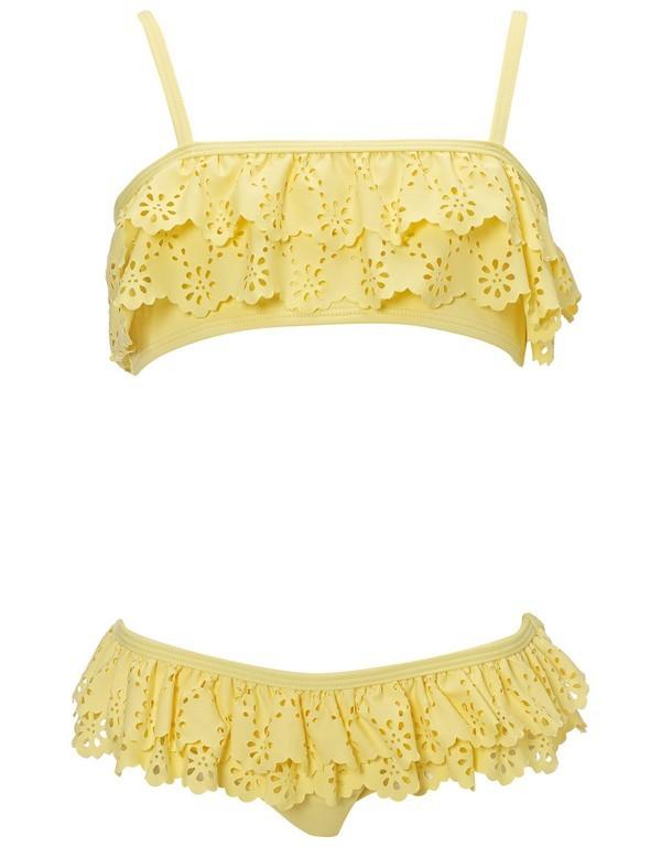 Costume a due pezzi giallo per bimbe
