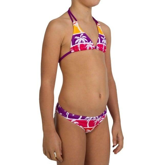 Costume due pezzi per bambina con fantasia tropicale