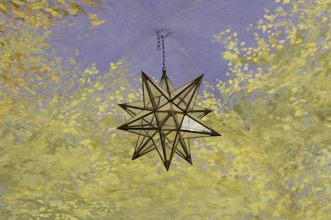 L'interno del negozio ha un'atmosfera rilassante grazie ai particolari arredi ed al suo soffitto dipinto come un celo stellato