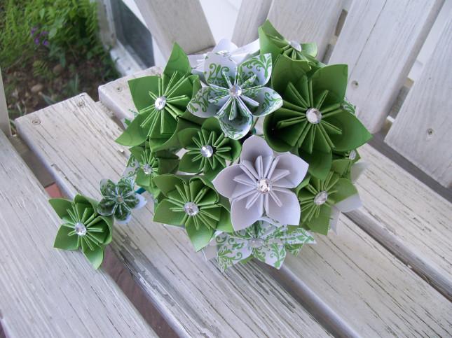 fiori verdi di carta origami