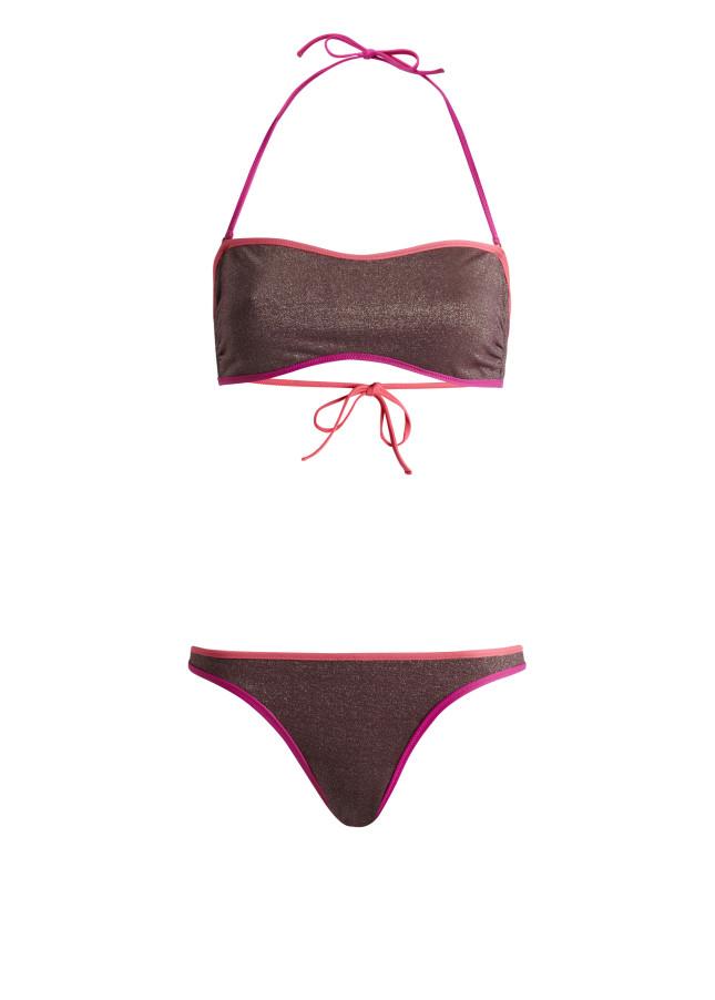 Reggiseno e slip bikini lurex con estremità a contrasto. Opzionale la fascia sul collo, chiusura con un fiocco sulla schiena