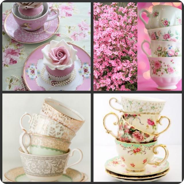Set di tazzine da tè non abbinate tra loro ,dal gusto vintage per un allestimento british