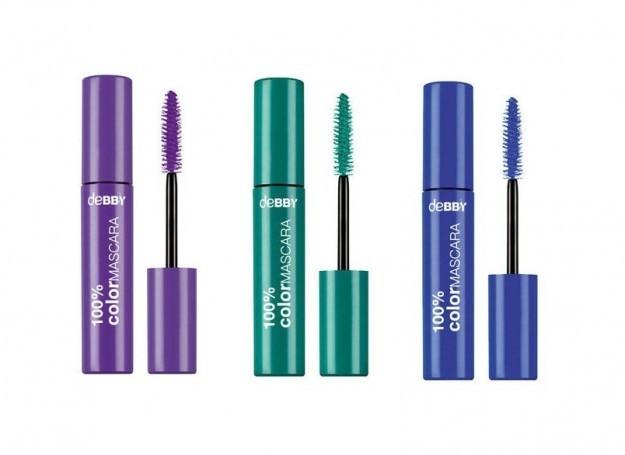 Super intense le nuance di 100% Color Mascara di Debby - i colori verde, viola e blu. Prezzo: 4,50 euro