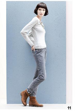 Maglia minimal bianca e jeans grigi, di Bensimon, della collezione autunno-inverno 2014-15