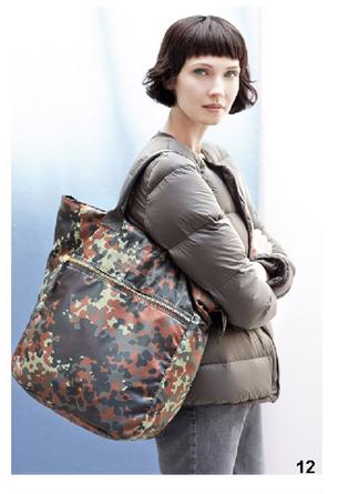 Piumini grigio e maxi bag stampata, di Bensimon, della collezione autunno-inverno 2014-15