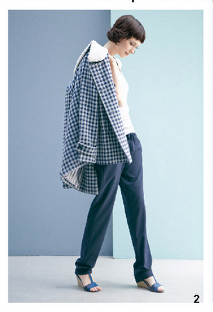 Cappotto a quadretti, maglia bianca, e pantaloni ampi, di Bensimon, della collezione autunno-inverno 2014-15