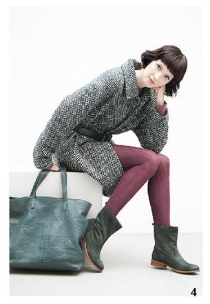 Cappotto grigio con cintura nera in vita, e maxi bag verde, Bensimon, della collezione autunno-inverno 2014-15