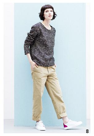 Maglia oversize grigia, abbinata a pantaloni maschili beige, di Bensimon, della collezione autunno-inverno 2014-15