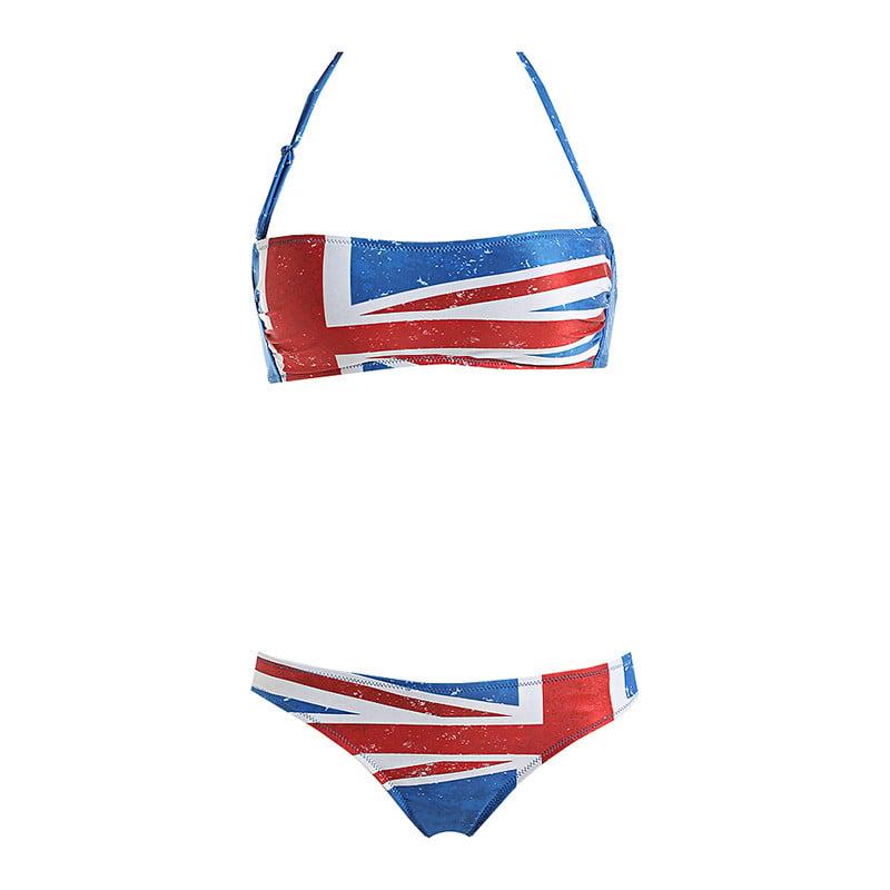 Bikini con la bandiera inglese stampata in charmeuse opaca - 39,90 euro