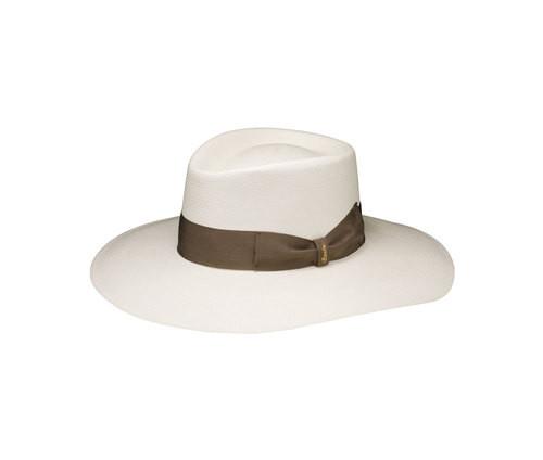 Cappello in paglia bianco, con fascia e fiocco a lato, firmato Borsalino