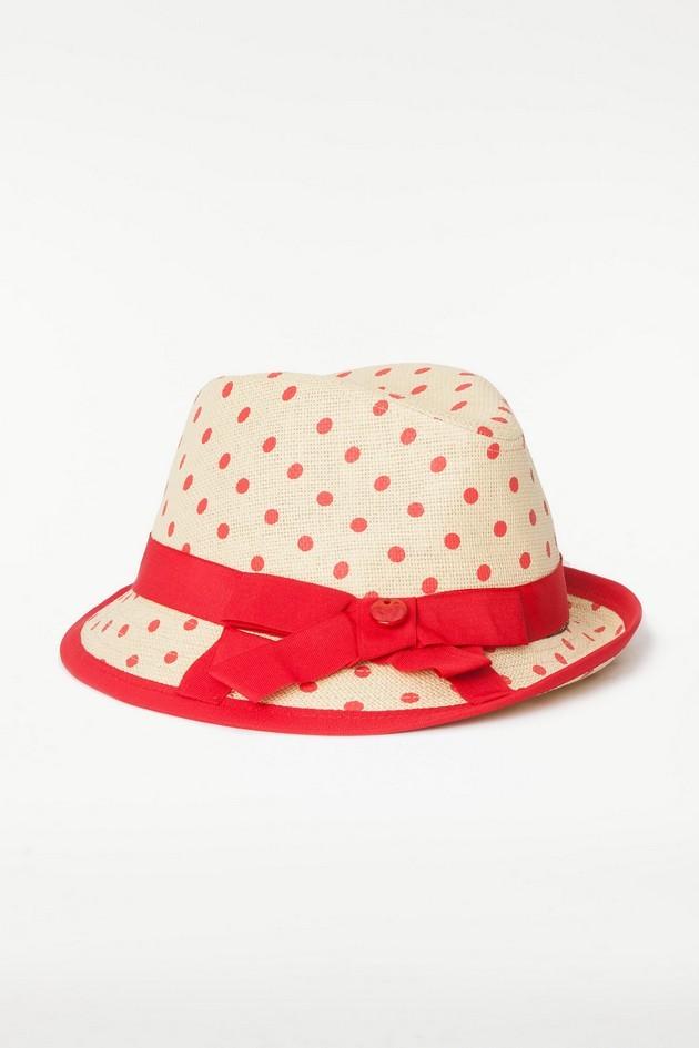 Cappello beige con pois rossi e fascia con fiocco, di Twin Set