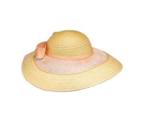 Cappello in paglia con fascia e dettagli rosa, di Borsalino