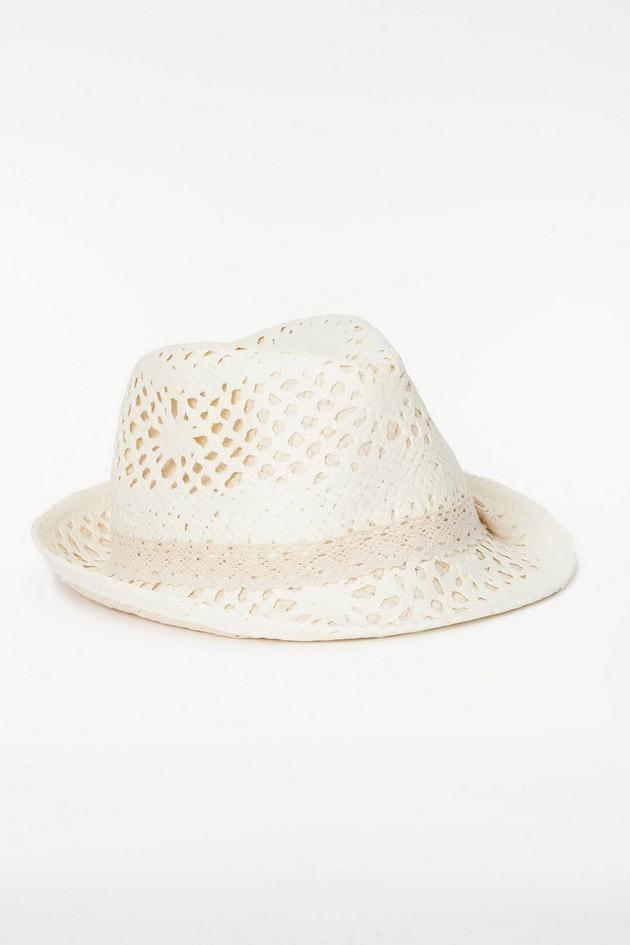 Cappello bianco in paglia, traforato, di Twin Set