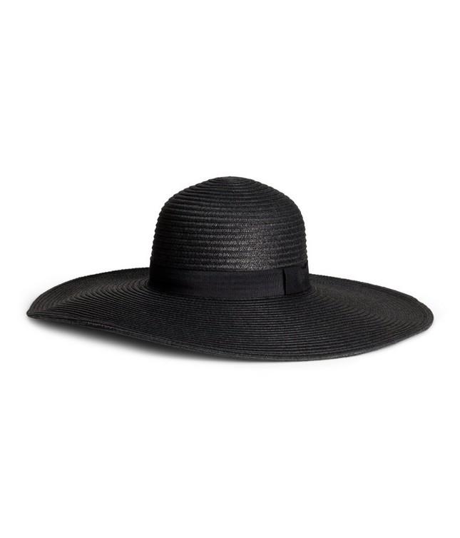 Cappello a falda larga, nel colore nero con nastro tono su tono, di H&M