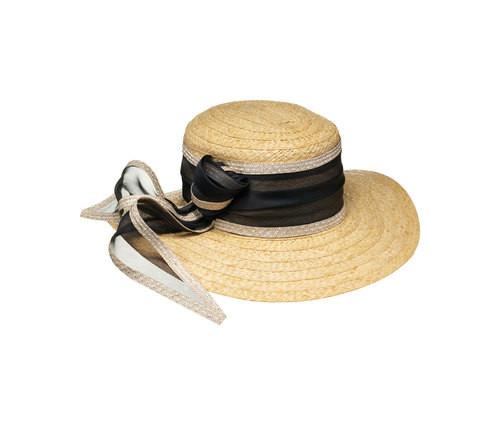 Cappello in raffia, con fascia in seta bordata in paglia con fiocco, di Borsalino