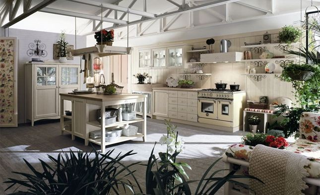Callesella: cucina modello country chic in legno laccato panna