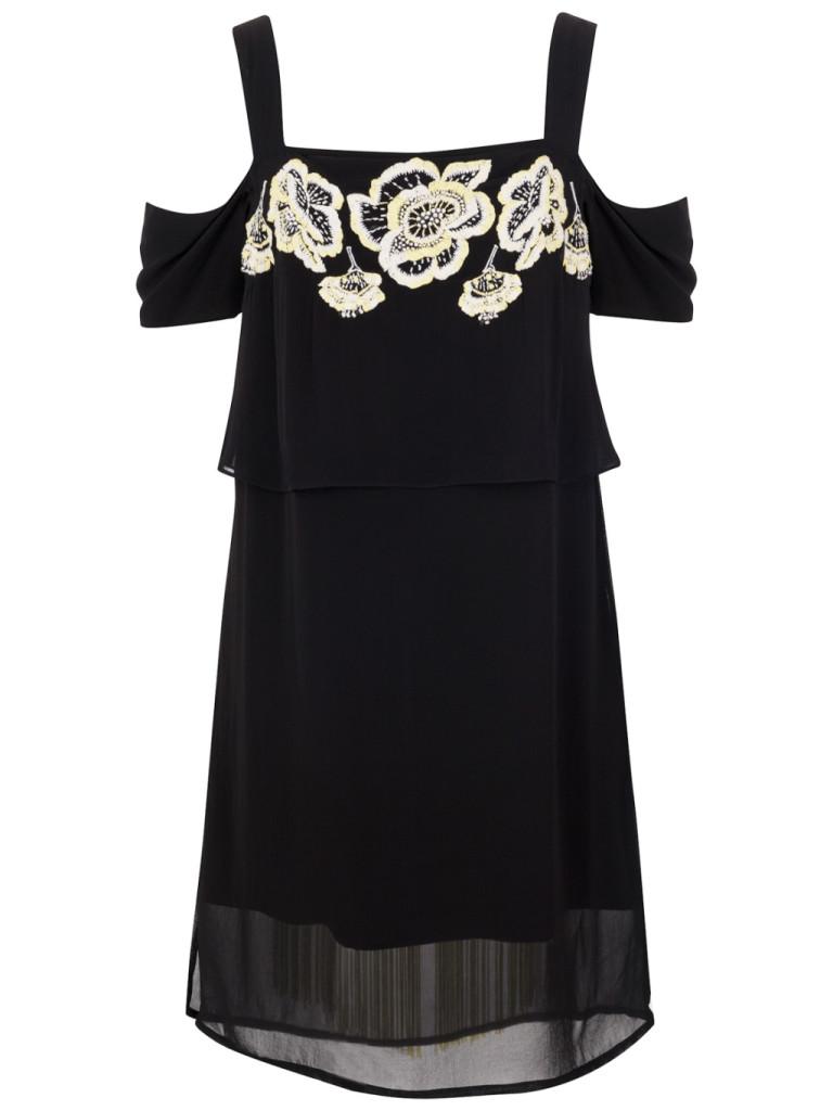 French Connection, abito nero con dettaglio floreale sulla scollatura
