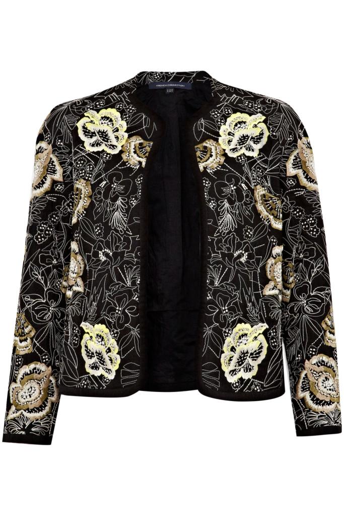 French Connection, giacca a manica lunga dalle tonalità scure con dettagli floreali su stampa chiara