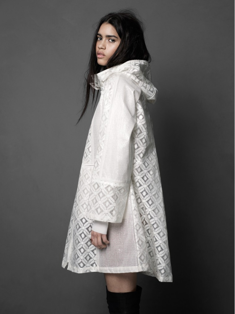 Cappotto bianco in tweed