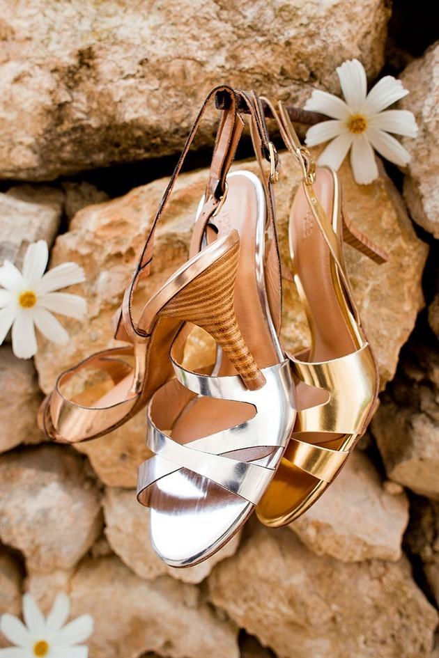 Hoss Intropia collezione estate 2014. Sandali con tacco basso, silver, golden e bronzo.