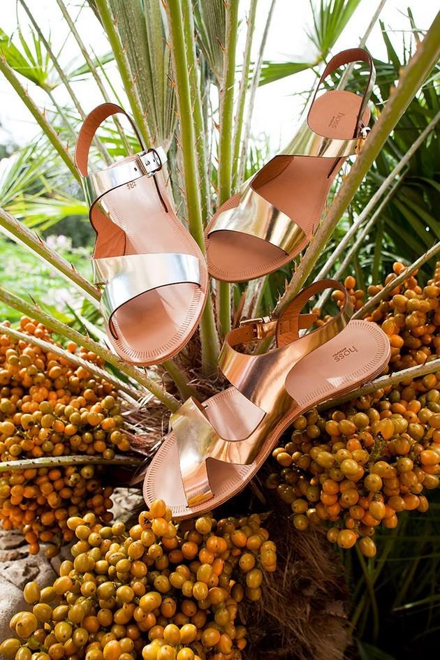 Hoss Intropia collezione estate 2014. Sandali bassi, silver, golden e bronzo.