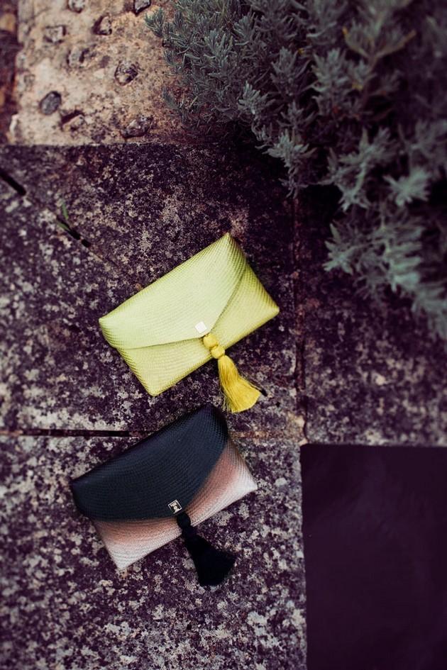 Hoss Intropia collezione estate 2014. Pochette giallo fluo e nera