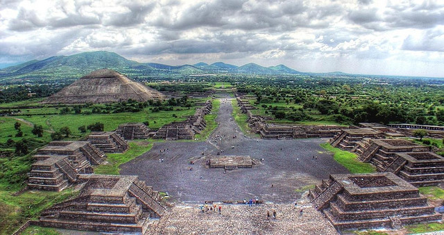 Panoramica di Teotihuacan, antichi resti Maya