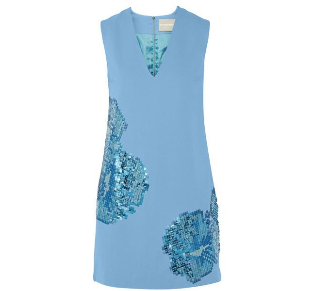 Richard Nicoll: vestito smanicato azzurro con applicazioni di paillettes